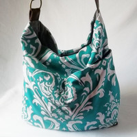 Turquoise Hobo - Print handbag with Brown vegan suede strap - Handmade bags - Made to Order