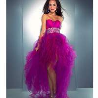 Mac Duggal Prom 2013- Candy Pink With Purple Tulle Cha Cha Dress - Unique Vintage - Cocktail, Pinup, Holiday & Prom Dresses.