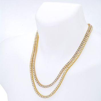 """Jewelry Kay style Men's Fashion Iced Out 4 mm Stone Double Set 22"""" and 24"""" Tennis Chain Necklace"""