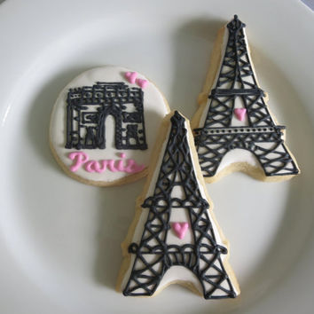 Paris Sugar Cookies, Eiffel Tower Cookies, Arc de Triomphe, Paris Party, 1 dozen