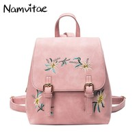Fashion Spring Women Backpacks Casual Travel Bag Flowers Embroidered Pu Leather School Bags Girls Backpacks dropshipping