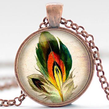 Yellow Feather Necklace, Bird Feather Jewelry, Green Red and Yellow Feather Pendant (1240)