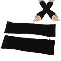 HOT Ladies Winter Stretchy Cuff Fingerless Black Knitted Long Gloves Arm Warmer Pair