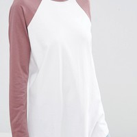 ASOS Longline T-Shirt With Contrast Sleeve at asos.com