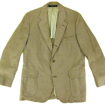 Brooks Brothers Plaid Blazer -Sport Coat Jacket Tan Brown Preppy Ivy League Menswear- Men's Size 42 L Long Large Lrg L