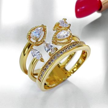Gorgeous Water Drop Wedding Cocktail Party Crown shape Clear White Zircon Rhodium or Gold-color Copper Metal Rings For Women