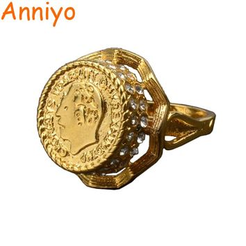 Anniyo Gold Color Arab Coin Ring for Women/Girl Iraq Iran Middle East  Jewelry Gifts With Rhinestone #012912