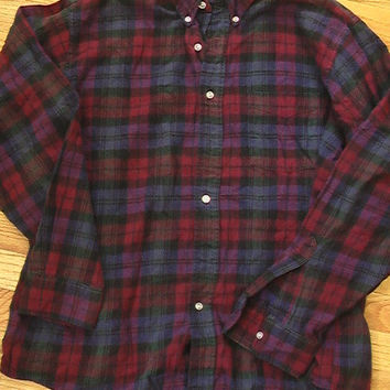 Vintage LL Bean Flannel Shirt Mens M L Wine Plaid USA