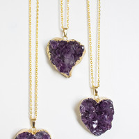 ON SALE! - Heart Shape Purple Amethyst Pendant Necklace, Valentine's Day Gift, Druzy Pendant, Statement Necklace, Anniversary, Gift for Her