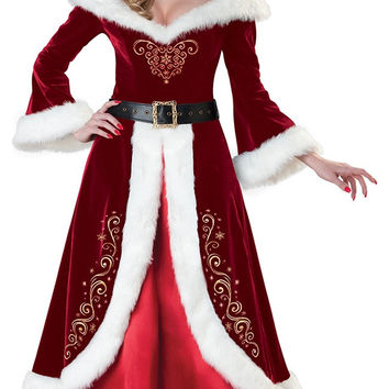 Bell Sleeve Mrs. Claus Costume A-Line Maxi Dress