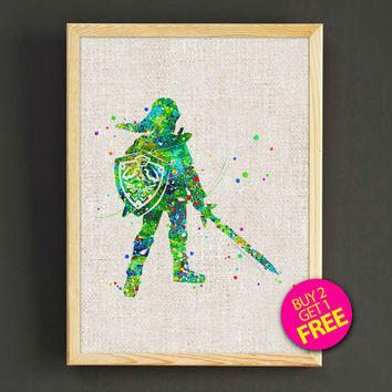 The Legend of Zelda Watercolor Art Print Zelda Game Poster House Wear Wall Decor Gift Linen Print - Zelda - Buy 2 Get 1 FREE - 78s2g
