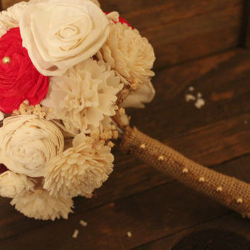 Medium Alternative Red Flower Bouquet,, Rustic Vintage Wedding, Outdoor Wedding, Country Wedding