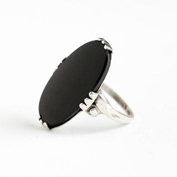 Vintage Sterling Silver Black Onyx Gem Ring - 1940s Size 5 1/4 Black Oval Onyx Chaceldony Gemstone Statement C&C Clark and Coombs Jewelry