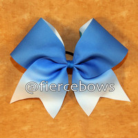 Royal to White Sublimated Ombre Cheer Bow