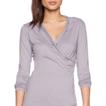 Velvet by Graham & Spencer Gauzy Whisper Classics Meri Top in Light Gray