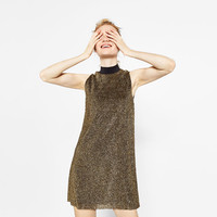 SHINY PLEATED DRESS - DRESSES-WOMAN | ZARA United States