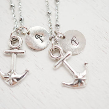 set of 2 best friend necklace,nautical anchor charm pendnat,hand stamped gift for bff,friendship necklace set,navy wifebridesmaid necklace