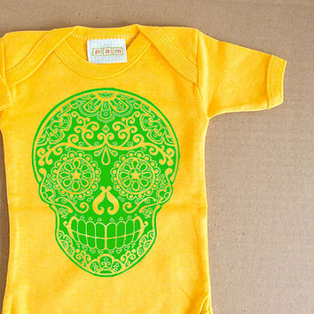 Green Sugar Skull Yellow Bodysuit. Day of the Dead Baby Clothes. Trendy Children girl boy funky baby tshirt one-piece creeper. Lime Green