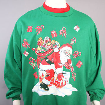 80s Ugly CHRISTMAS SWEATER / Santa Claus Christmas Sweatshirt