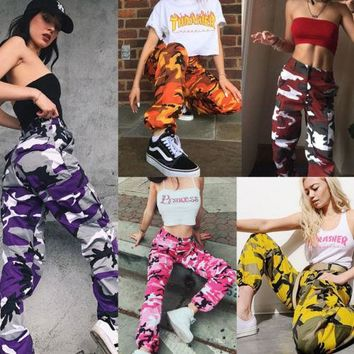 Casual Womens Camo Cargo Trousers Pants Military Army Combat Jeans