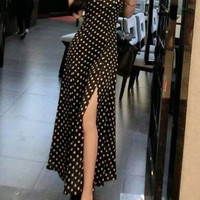 Polka Dot Spaghetti Strap Maxi Dress with Slit