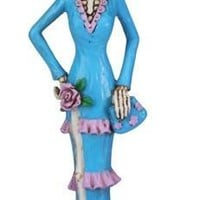 Senorita in Blue Dress Purple Trim, Day of the Dead Statue