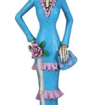 Senorita in Blue Dress Purple Trim, Day of the Dead Statue - T78900