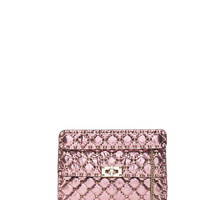 Valentino Medium Metallic Quilted Rockstud Spike Shoulder Bag in Lipstick | FWRD