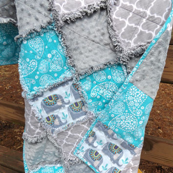 Handmade Large Elephants Flannel and Minky Rag Baby or Crib Quilt in Aqua, Gray and Lime