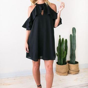 Love On Repeat Detailed Black Dress