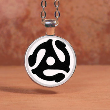 Vinyl Record Insert Adapter Vintage Music Pendant Necklace Inspiration Jewelry