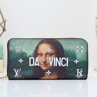 Tagre™ Louis Vuitton Women Clutch Purse Fashion Oil Painting Letter Pattern Print Long Section Zip Wallet