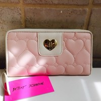 Betsey Johnson Pink/ White heart locket wallet NWT