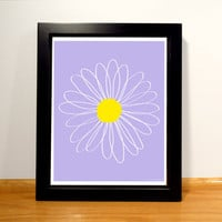 Daisy Floral Print - 8x10 Purple and Yellow Digital Print
