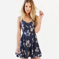 Floral Printed Spaghetti Strap Criss Cross Strappy Back Mini Dress [9615042829]