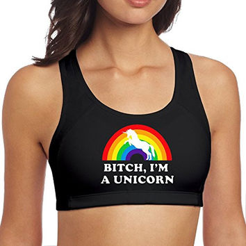 LINNA Fashion Women's Bitch I'm A Unicorn Rainbow AOL Bra Vest Black Size M