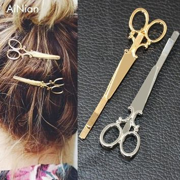 AiNian Cool Simple Head Jewelry Hair Pin Gold Scissors Shears Clip For Hair Tiara Barrettes Accessories Headdress For Girl Women