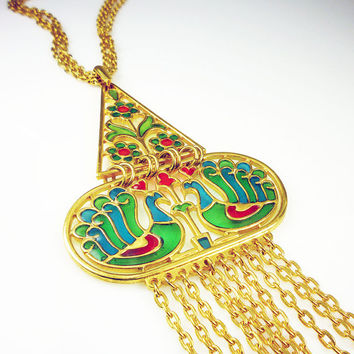 Vintage Trifari Necklace Peacock Plique A Jour Stained Glass Statement Jewelry
