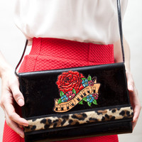 Rockabilly reworked vintage clutch leopard and rose