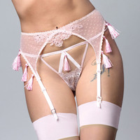 FIONA Icy Pink playful Tassel silk satin and chantilly lace peep hole Thong, pink sleepwear lingerie