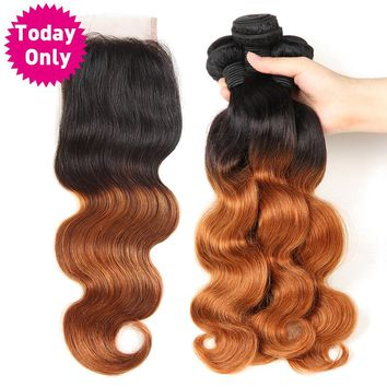 Ombre Brazilian Human Hair Bundles With Lace Closure Body Wave 3 Bundles With Closure Two Tone 1b/30 Non Remy Hair