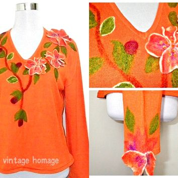 Autumn / Fall Sale: orange floral pullover (large; plus size), long sleeved knit top