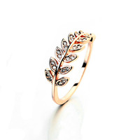 Cubic Zircon Leaf Crystal Ring