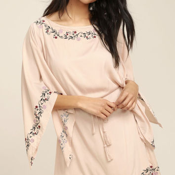 Garden Gathering Blush Pink Embroidered Dress