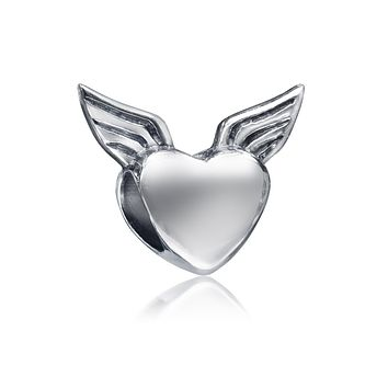 Guardian Heart Angel Wings Charm Bead 925 Sterling Silver