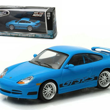 """Brian's 2001 Porsche 911 Carrera Gt3 RS Blue """"The Fast and The Furious Fast Five"""" Movie (2011) 1-43 Diecast Model Car by Greenlight"""