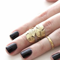 SunaharA Feather Wrap Ring in Gold
