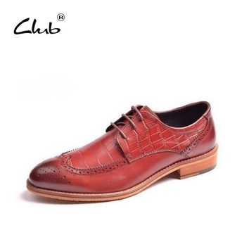Club British Male Business Shoes Luxury Brand Leather Dress Shoes Bullock Carved Lace-Up Solid Mens Brogue Shoes Men Oxford Shoe