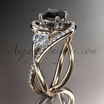 Unique 14kt rose gold diamond engagement ring, wedding band with a Black Diamond center stone ADLR320