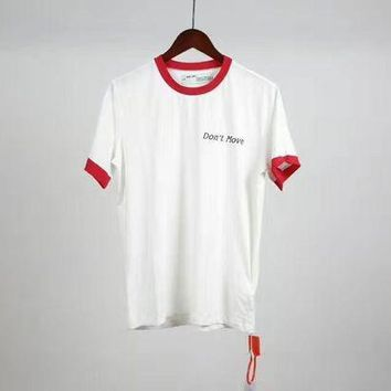 VONE5GW OFF WHITE collar hand-cut hole pistols letters printed round neck short-sleeved T-shirt